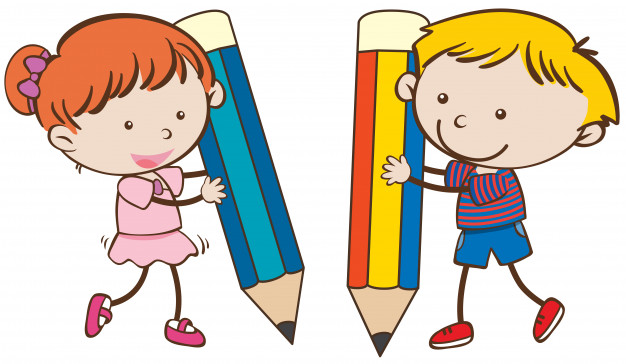 Boy and girl writing with big pencils Vector