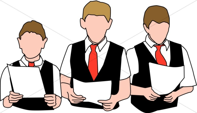 Choir clipart male. Three boys with vests