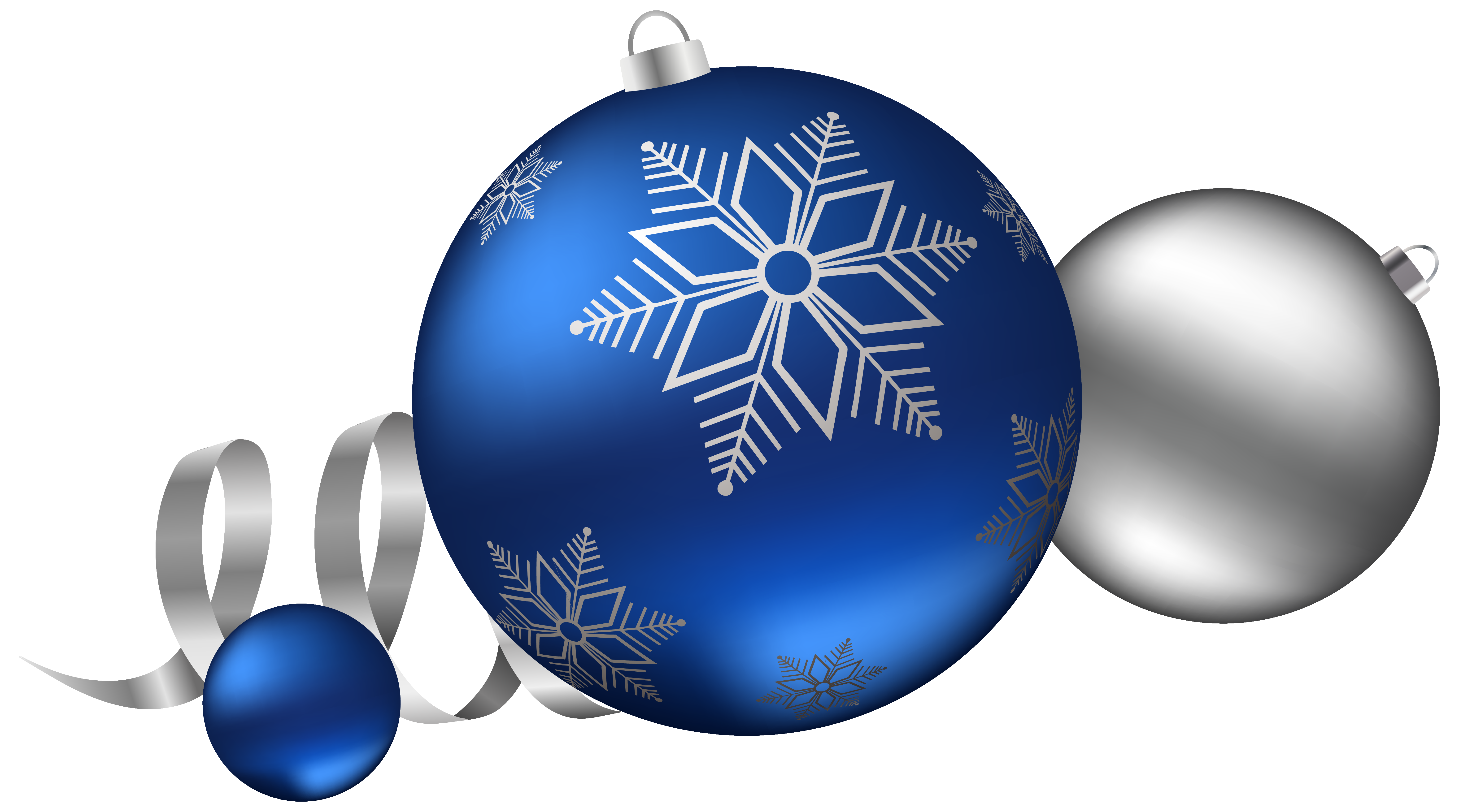 Silver and Blue Christmas Balls Decoration Clipart Image