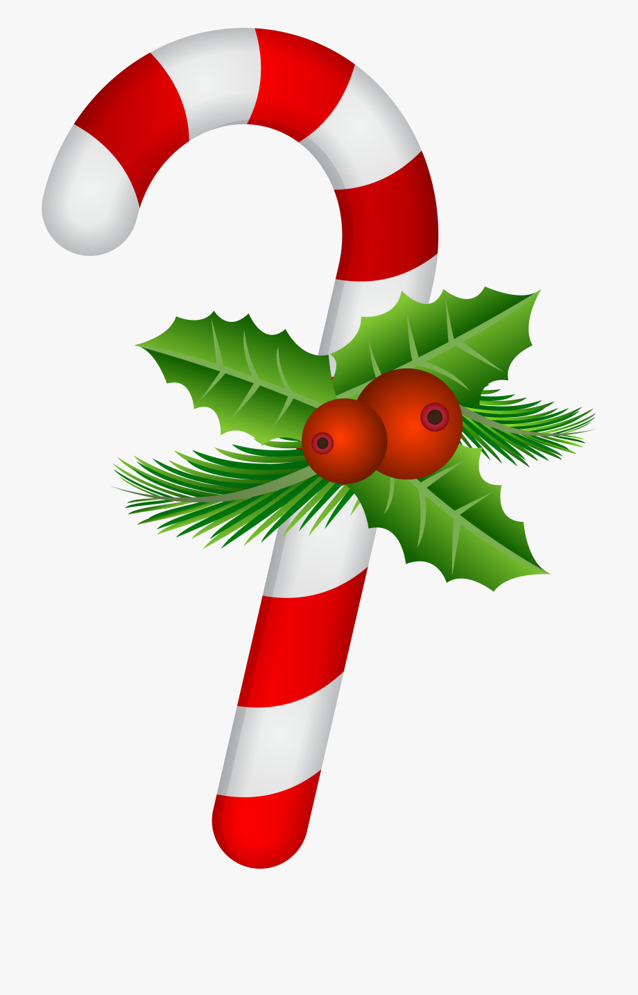 Candy Cane With Holly Transparent Png Clip Art