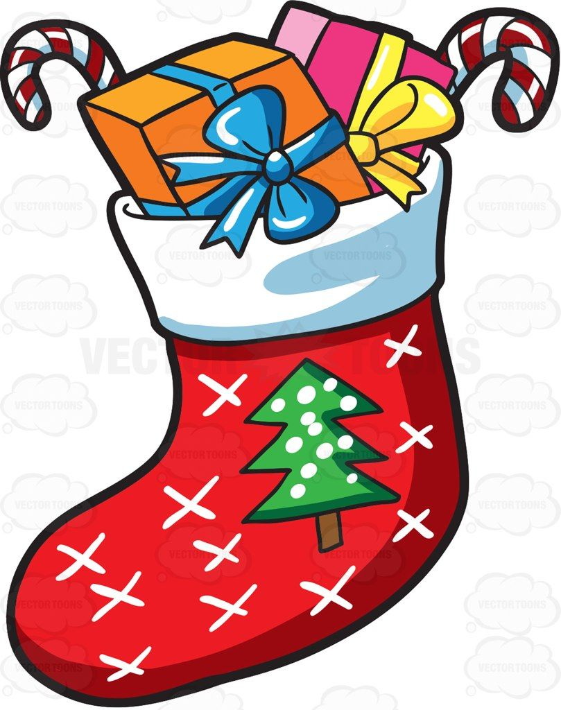 A Christmas sock with presents