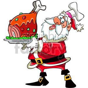 Cartoon santa holding dinner for christmas clipart