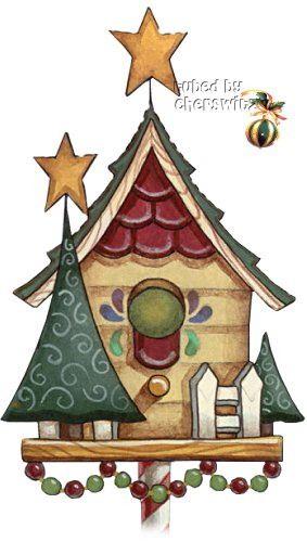 Country christmas birdhouse.