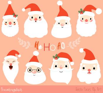 Santa faces clipart.