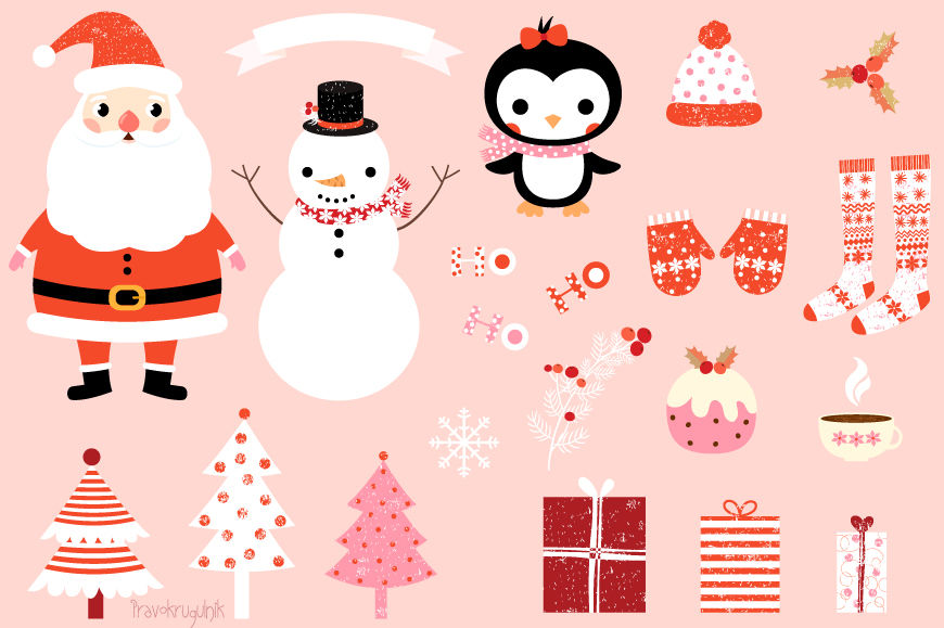 Cute Christmas clip art set, Kawaii Santa Claus clipart