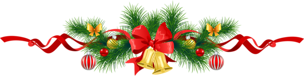 Transparent Christmas Pine Garland with Gold Bells Clipart