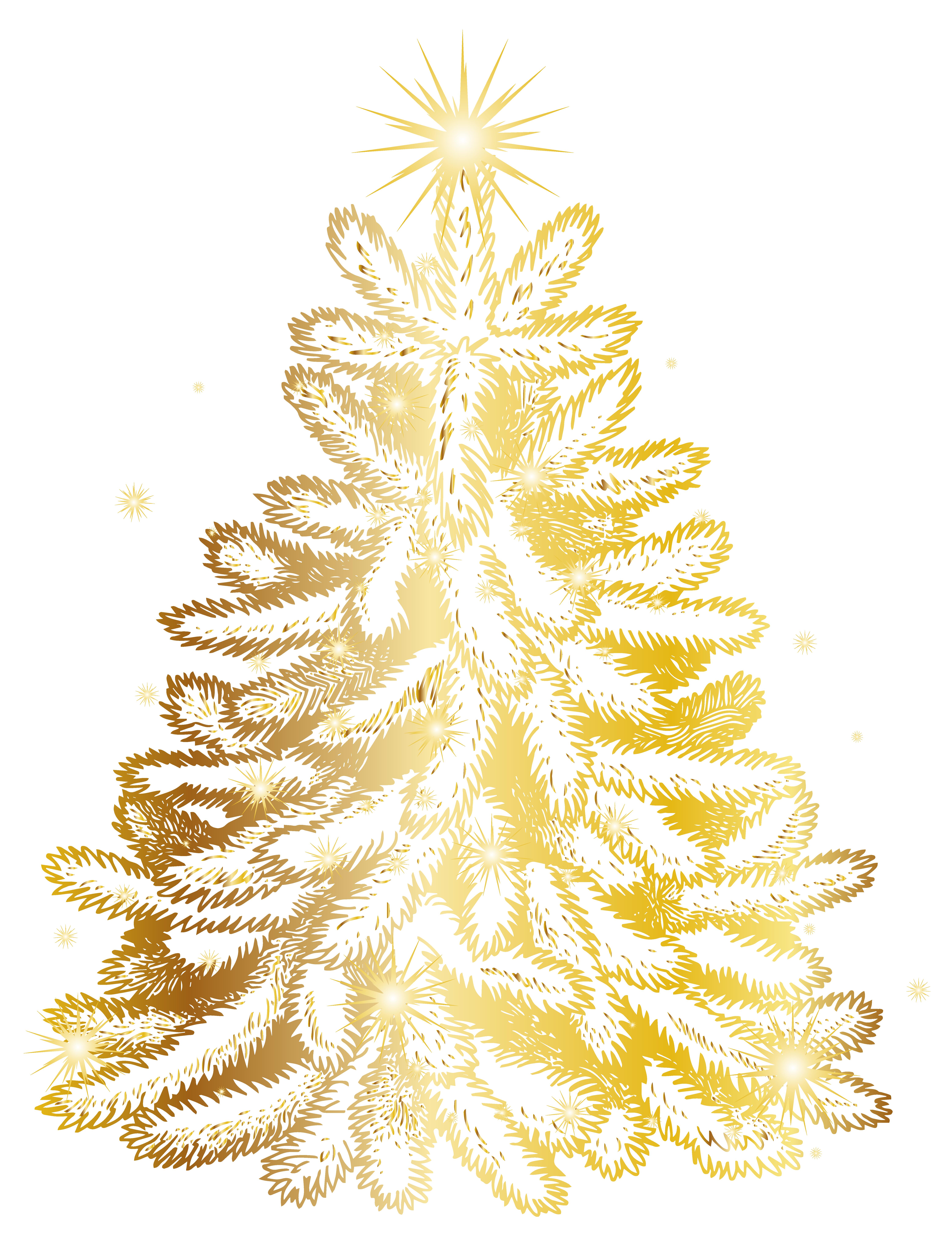 Christmas Gold Tree Transparent PNG Clip Art Image