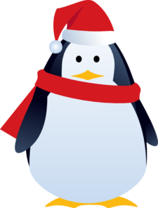 Christmas penguin clip.