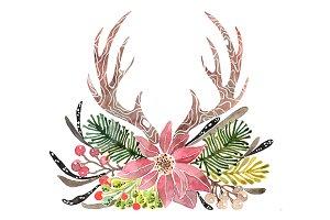 Rustic antlers christmas.