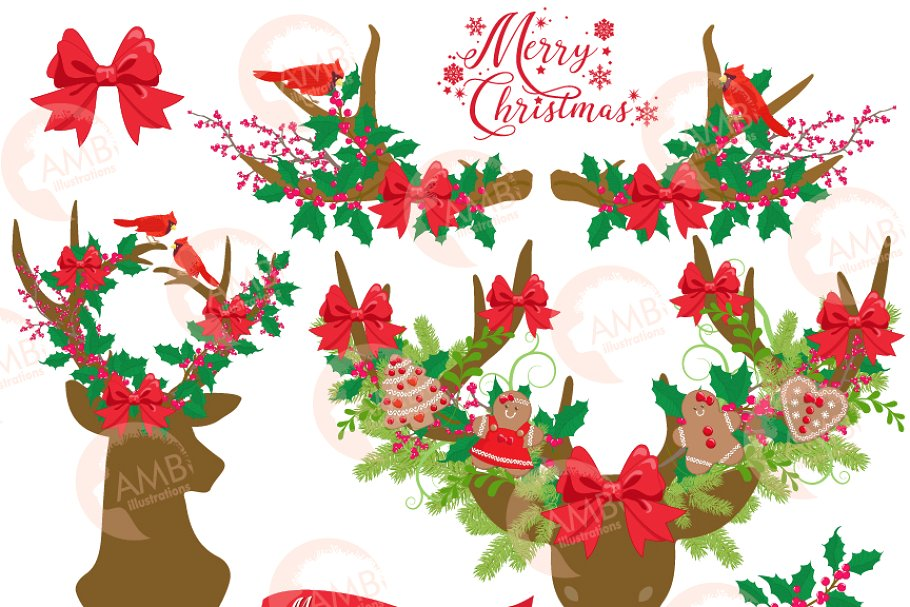 Rustic Deer Christmas Clipart,