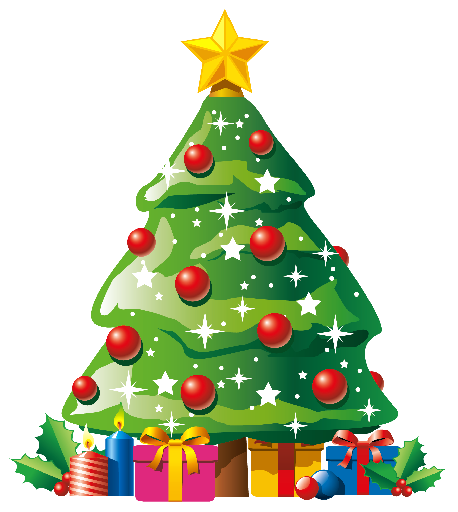 Transparent Deco Christmas Tree with Gifts Clipart