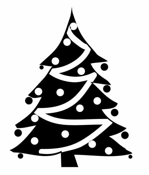 Best Christmas Tree Clipart Black And White