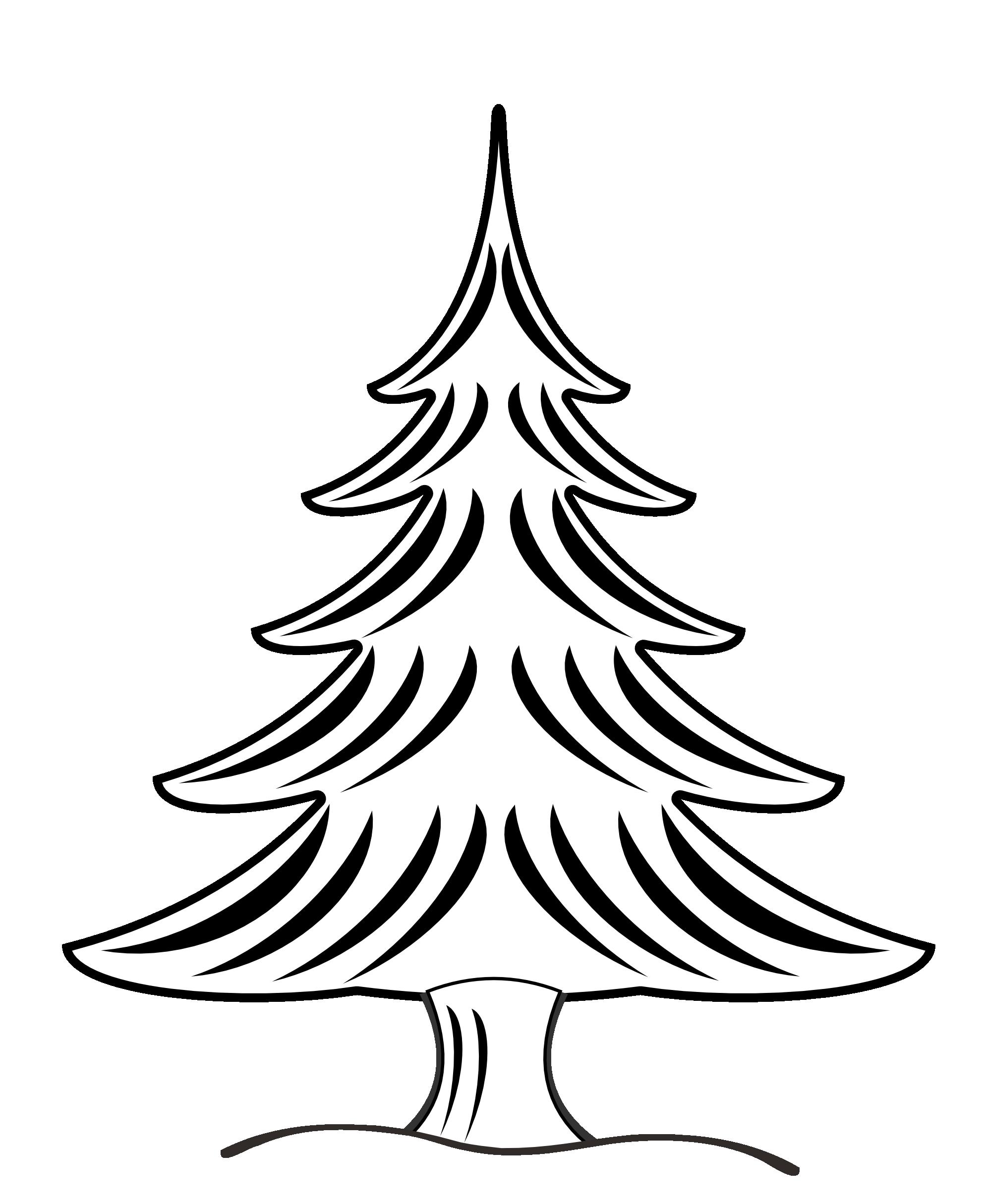 Christmas tree black and white snow christmas tree clipart