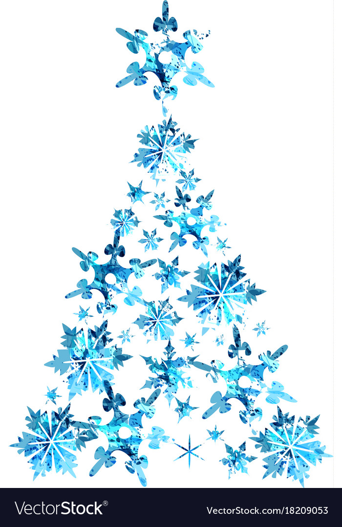 Abstract blue watercolor christmas tree
