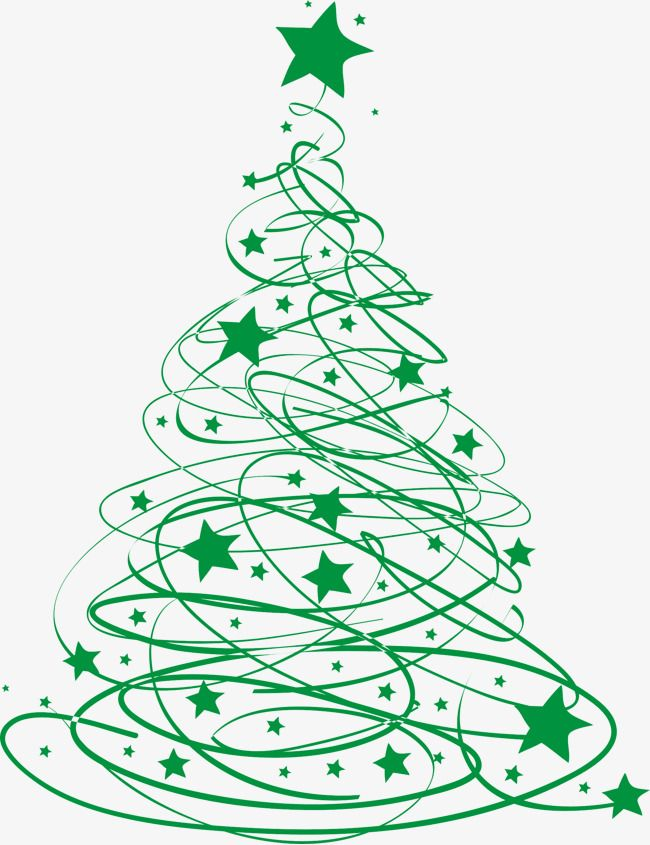 Green Christmas Tree Line, Tree Clipart, Star Clipart, Line