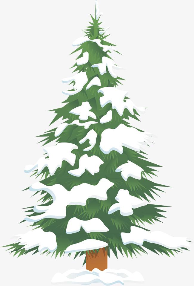 Green Snow Christmas Tree, Tree Clipart,