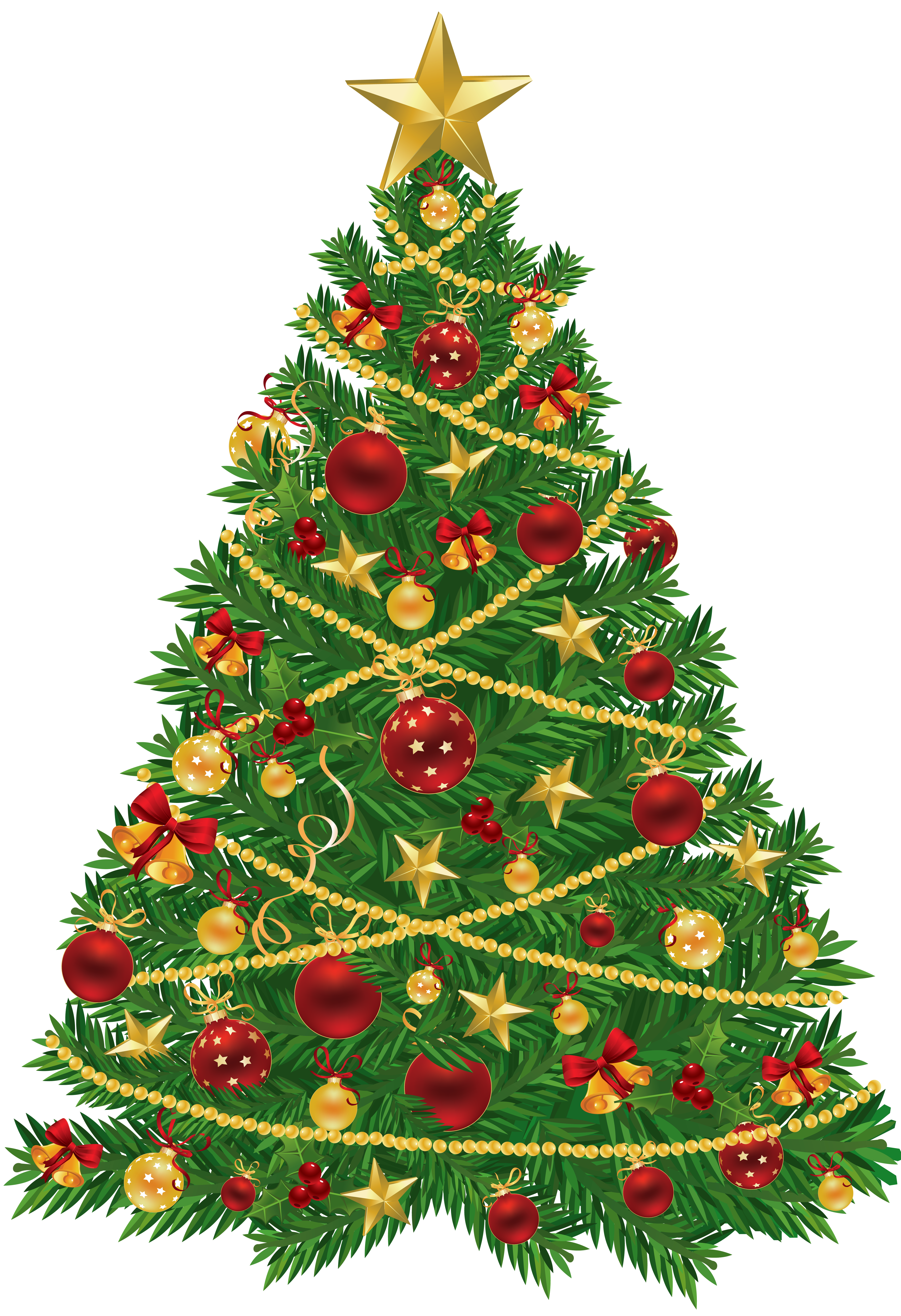Large Transparent Christmas Tree with Red and Gold Ornaments