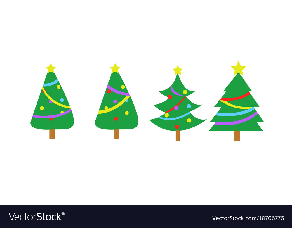 Fully decorated simple christmas tree graphic set