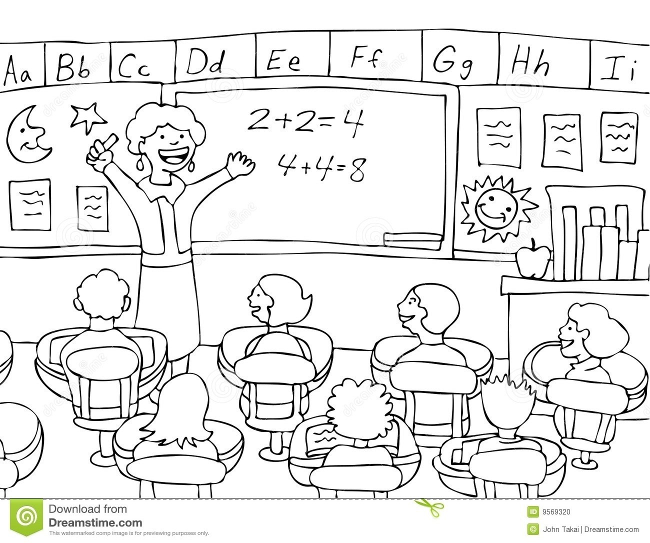 School classroom clipart.