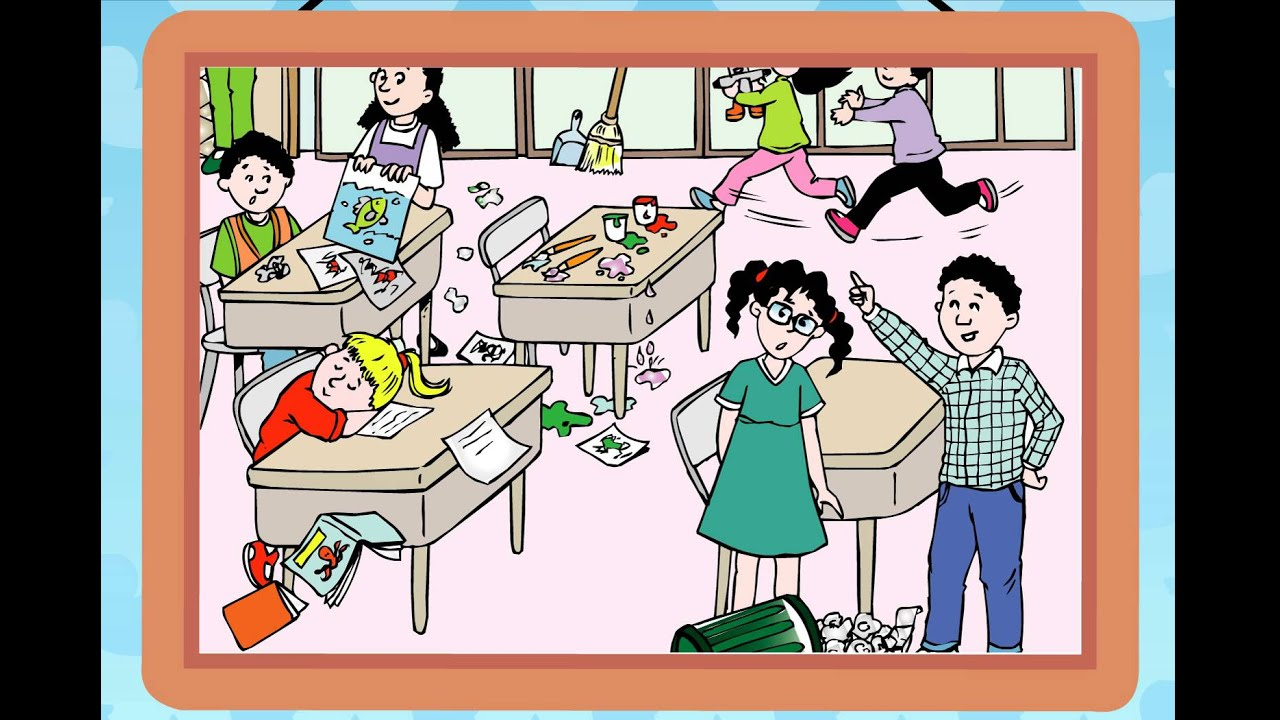 Messy classroom conversation.