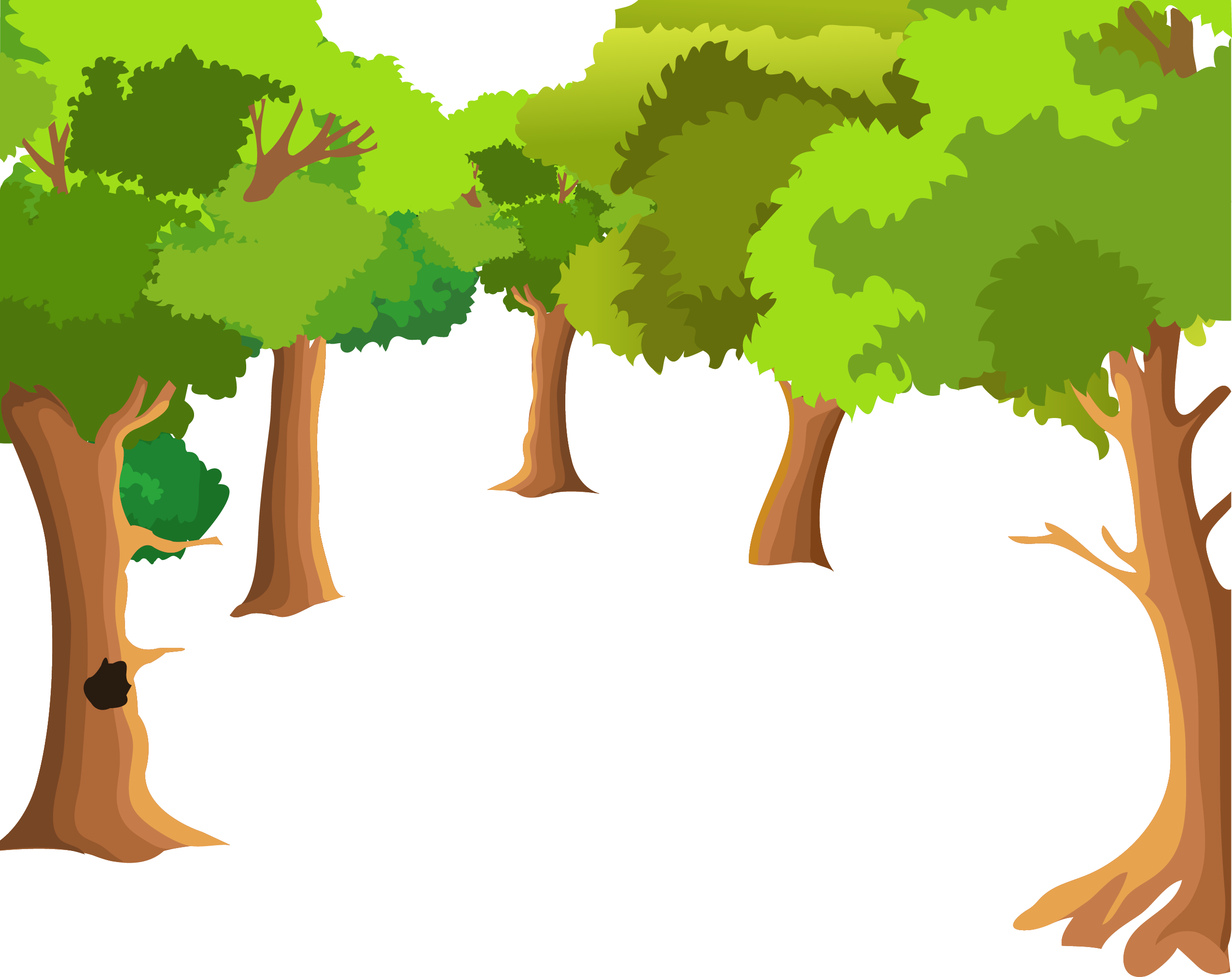 Forest background clipart drawing. Landscape painting cartoon tree