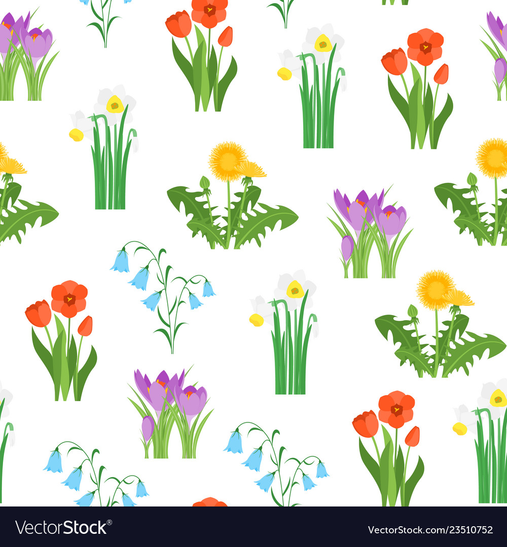 Cartoon garden flowers seamless pattern background