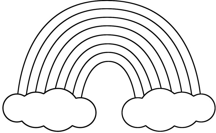 rainbow clipart black and white small