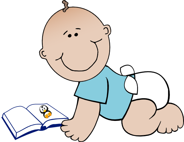 Babies and book clip art