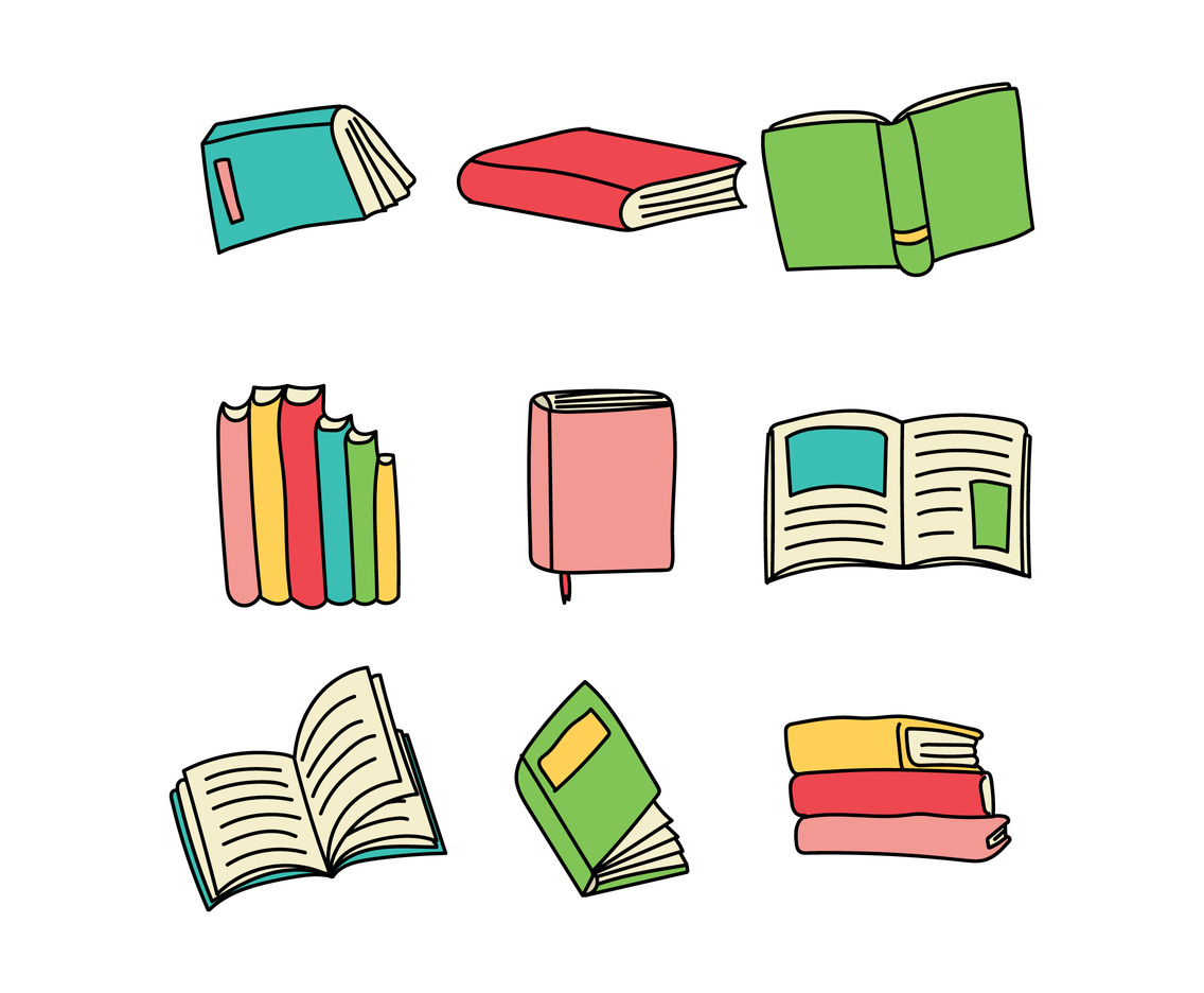 Set Of Colorful Books Doodles Vector Art