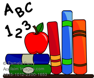 Clip Art Image of School Books With an Apple for Teacher and