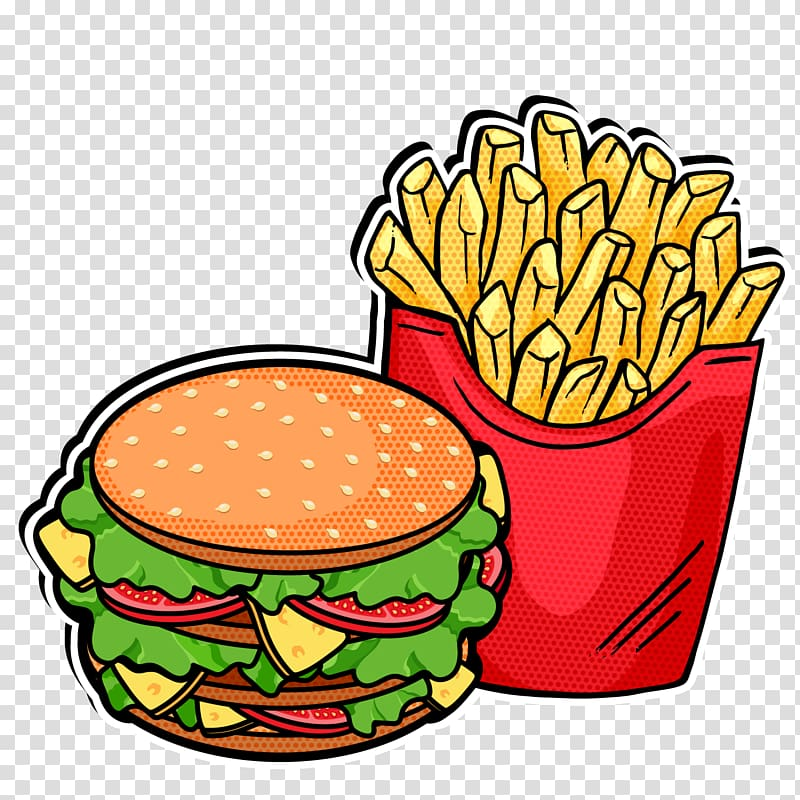 Burger and French fries illustration, Fast food French fries