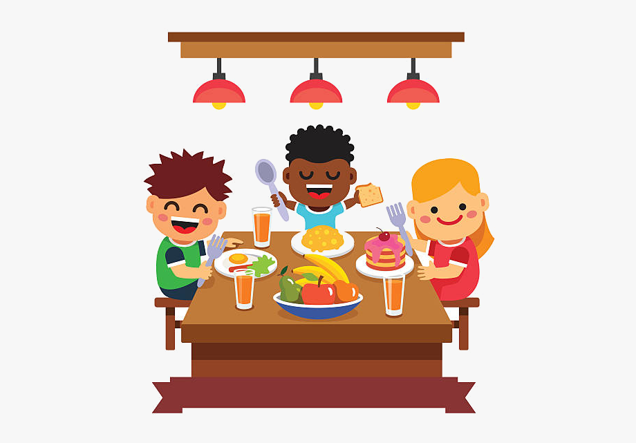 Children eating clipart.