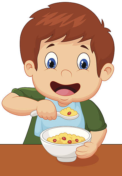 Child eating clipart.