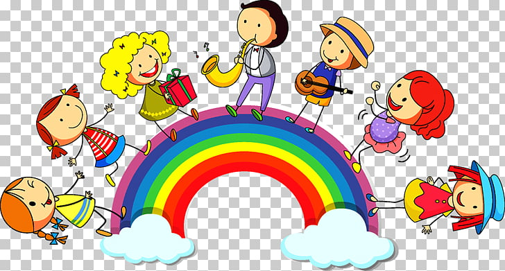 Rainbow child illustration.