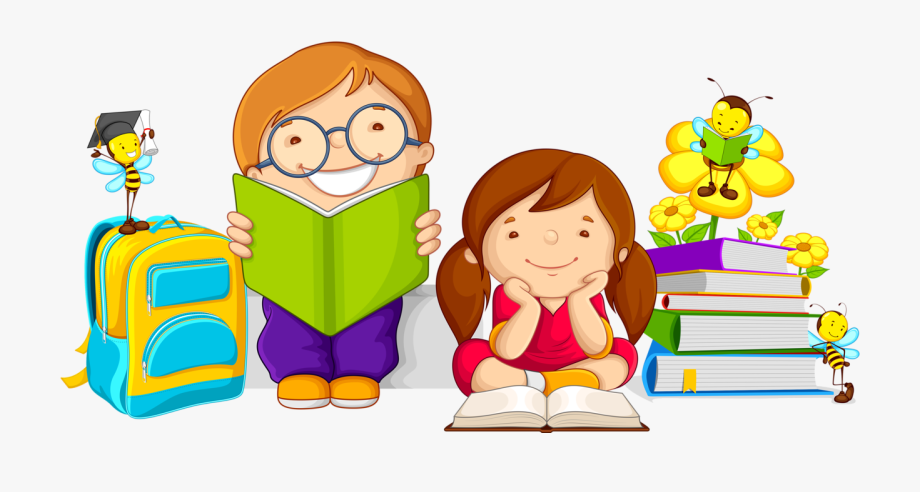 kids reading clipart studying