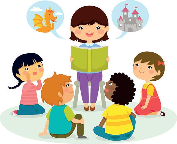 Kids listening teacher.