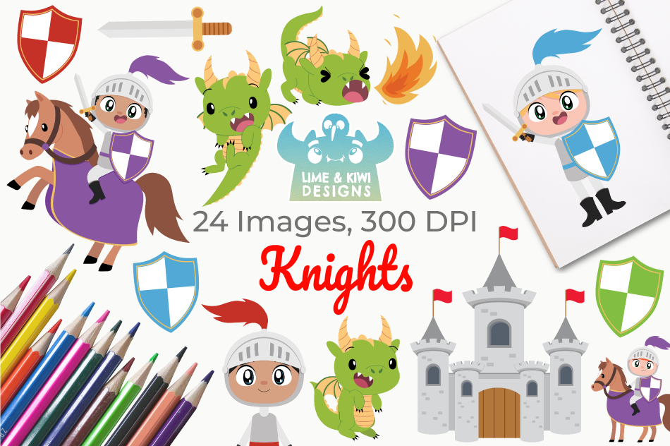 Knights Clipart, Instant Download Vector Art, Commercial Use