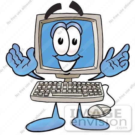 Desktop computer cartoon.