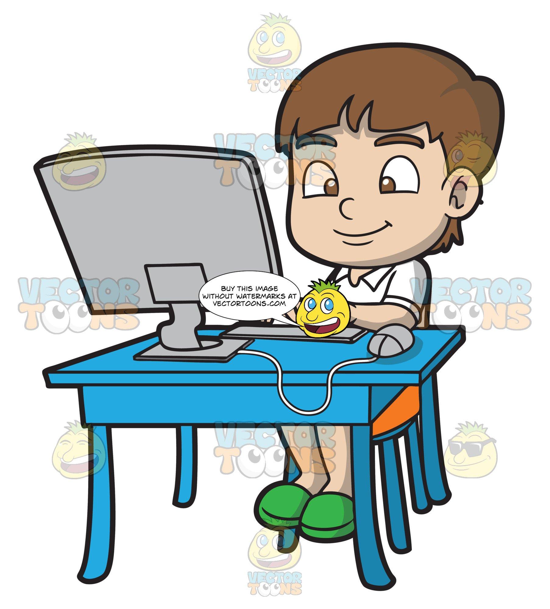 Boy typing essay.