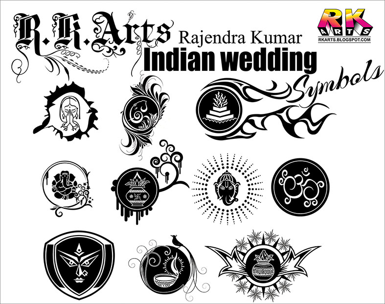 Indian Traditional Wedding Symbols with Decorative ornaments