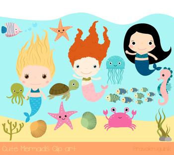 Cute mermaids clip art, Sea animal clipart, seahorse, crab, octopus, turtle