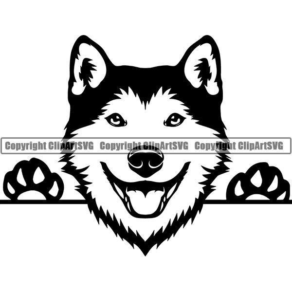 Siberian Husky Peeking Dog Breed ClipArt SVG