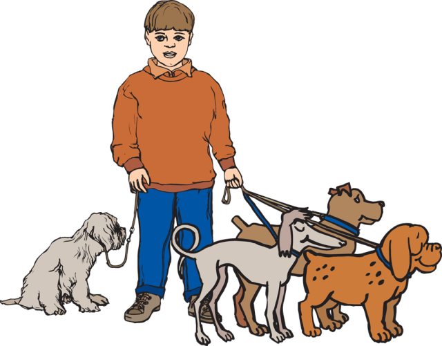 Dog Walking Clipart