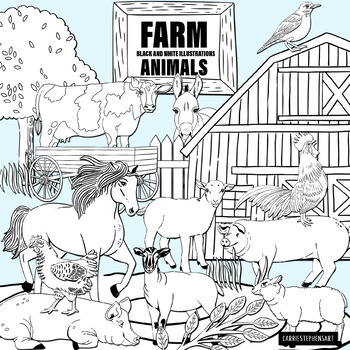 Farm Animals Black and White Line Art Illustrations