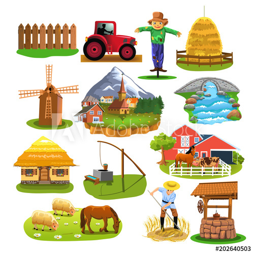 Countryside icons and clip arts like mill, village, river