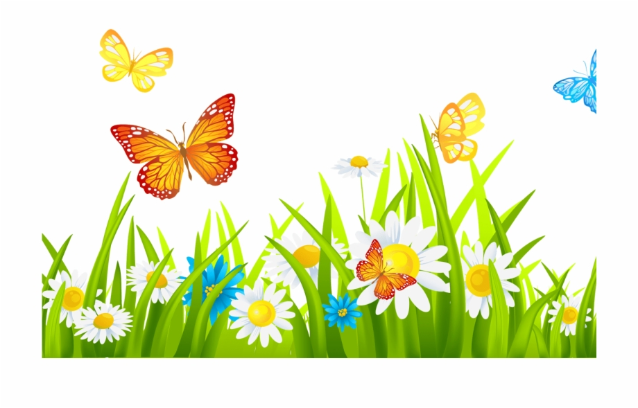Grass Ground With Flowers And Butterflies Png Clipart
