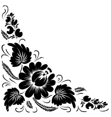 Black flowers vector.