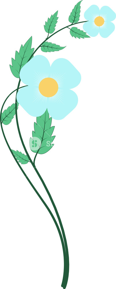 Blue flower vector.