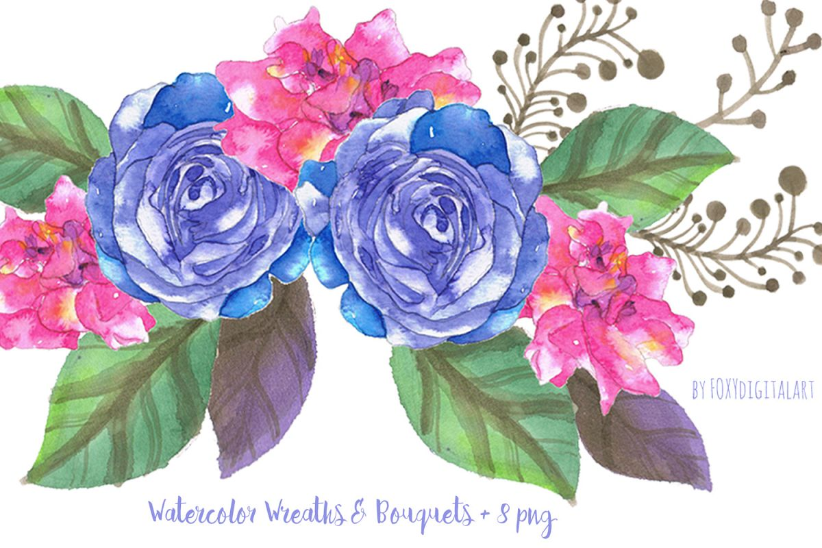 Watercolor flowers clipart.