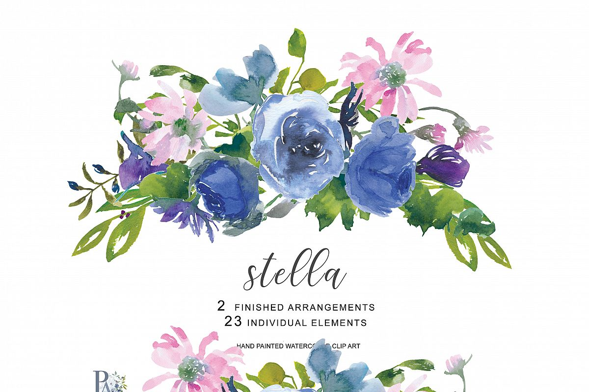 Hand Painted Watercolor Wedding Flowers Clip Art